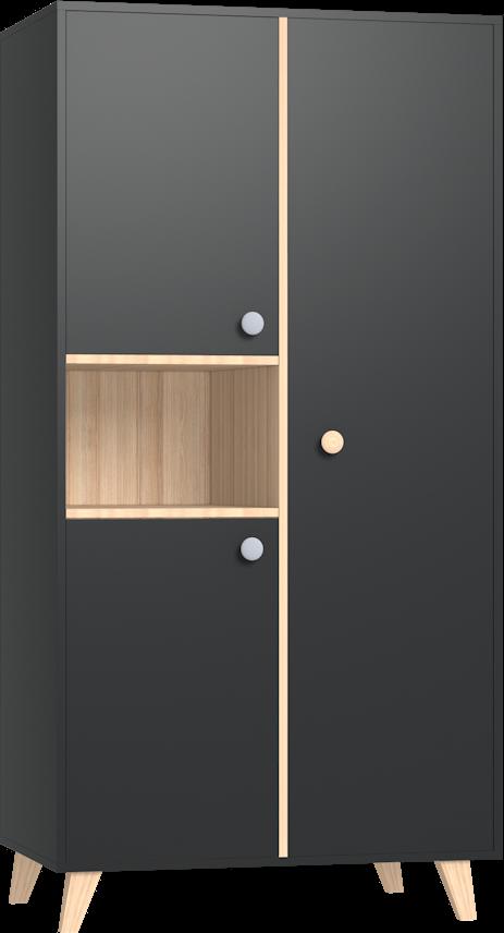 Colette antracit 2 osztású szekrény